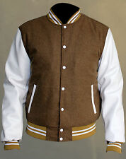 Top quality Varsity Letterman camel Wool Jacket with white Leather Sleeves