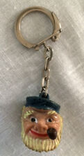 Vtg fisherman w/ pipe keychain from france / french vintage collectible