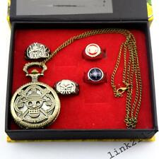 Anime One Piece Pocket Watch + Ring 5PCS Set Of Box Collectioin Gift