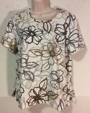 ALFRED DUNNER SIZE LARGE TOP MULTI WHITE GRAY GOLD FLORAL EMBELISHED