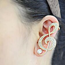 Vintage Retro Women Clip Ear Cuff Stud Punk Wrap Cartilage Earring Jewelry Gift Gold Peacock for Left