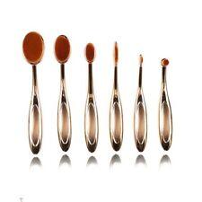 Kit 6 pcs pinceaux doré maquillage brosse forme ovales poils soyeux