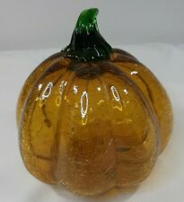 "Amber Crackle Glass Pumpkin 6.5"" Hand Blown Art Glass Sculpture Fall Halloween"