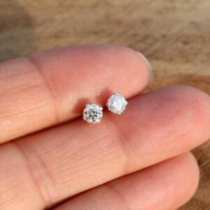 Moissanite Sterling 925 Silver Round Stud Earrings 4mm 0.50ct Gift Boxed