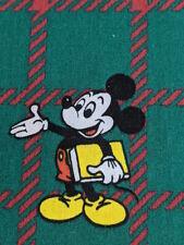 Vtg Disney Mickey Mouse Duvet Cover + Pillow Bedding Tartan Plaid Cotton Fabric