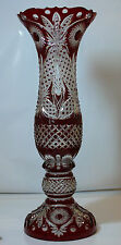 H75 cm Decorative Cased Crystal VASE, RUBY RED Cut to clear Overlay RUSSIA New