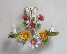 Shabby Chic Vintage Wall Sconce Light Fixture Lamp Flowers  Tole