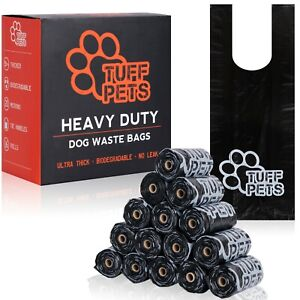 Tuff Pets 50% Stronger Dog Poo Bags | Biodegradable Doggie Bags W/ Tie Handles