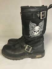 Xelement Black Leather Mens Skull Motorcyle Boots 9 1/2