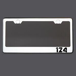 Polish Mirror License Plate Frame 124 Laser Etched Metal Screw Cap