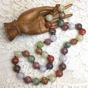 Vintage 30s Marbled Lucite Bead Necklace Chunky Acrylic Swirl Molded Globe Beads