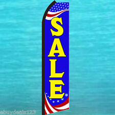 SALE PATRIOTIC Blue w-Yel Letter FLUTTER FEATHER FLAG Swooper Tall Sign Banner