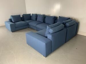 """RRP £22,000 - Huge Minotti """"Jagger"""" 8-Seat U-Shape Sofa in Divine """"Bisson Bru..."""