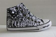 Kids Ed Hardy Highrise Kukula Size 1 M White Black Canvas Laceless Sneaker