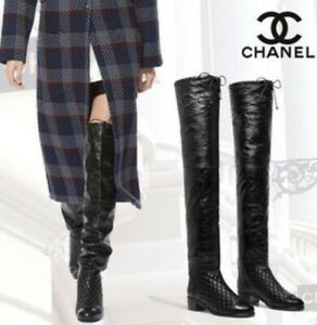 2k Stunning Authentic Chanel Black Leather CC Logo Thigh High Boots EU 38 US 8