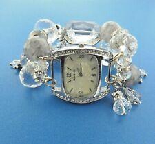 Narmi Chunky Clear Crystal Bead Stretch Watch Bracelet