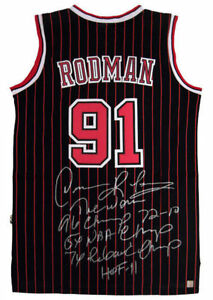 Dennis Rodman Autographed Bulls NBA Basketball Black Stat Jersey ASI Proof
