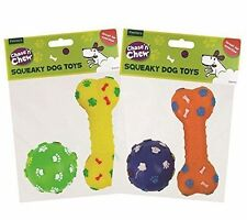 1x Chase'n'Chew 2 Squeaky dog toys for exercise play fetch and chew assorted