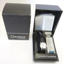 Vintage Caravelle by Bulova Diamond 42M50 Black Dial Leather Band Watch