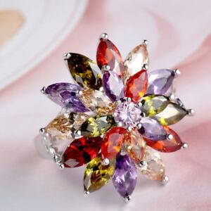 Wedding Jewelry Mona Lisa Natural Peridot Morganite Garnet Silver Ring Size 6-10
