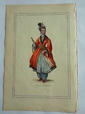 DAME CHINOISE tenant un eventail LITHOGRAPHIE originale recueil  M.BOULGON 1860