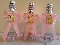12 Pink Minnie Mouse Fillable Champagne Bottles Baby Shower Favors Girl Birthday