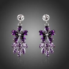 Sparkly Shiny Purple Cubic Luxury Zircon White Gold Plated Flower Women Earrings