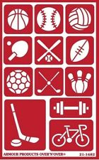 Armour Reusable Over n Over Glass Etching Stencil - Sports