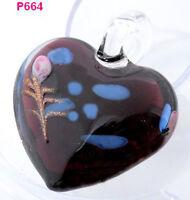1pc novel heart lampwork art glass beaded pendant necklace P664