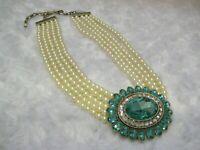 """HEIDI DAUS """"Dazzling Delight""""(Aquamarine) 5-Strand Beaded Necklace(Orig.$139.95)"""