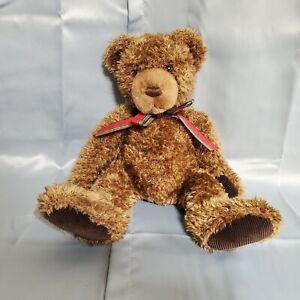 "Gund Muffles Brown Teddy Bear Plush 14"" Red Plaid Bow Corduroy Paws Stuffed Toy"