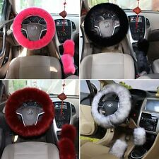 Universal Steering Wheel Cover Black Plush Wool Soft Fluffy Steering Cover New