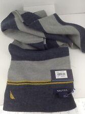 Men's Women's NAUTICA Long Blue Gray Winter Scarf - $55 MSRP - 15%
