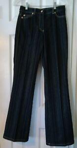 Escada Navy Blue Gold Pin Stripe Straight Leg Denim Jeans Pants-Size 34 Inseam31
