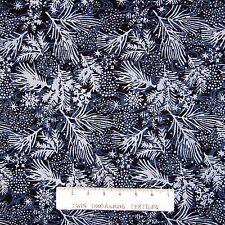 Island Batik Fabric - Christmas Pine Boughs & Snowflakes Blue - Cotton YARD
