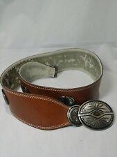 Vintage Bonwit Teller Brown Leather Belt Silver tone Belt Buckle and Detailing.