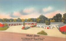 MOTEL CARRO U.S. HIGHWAYS 45 & 78 TUPELO MISSISSIPPI POSTCARD (c.1940s)