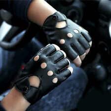 Half Finger Fingerless PU Leather Gloves Men Lady Fingerless Driving Show Dance