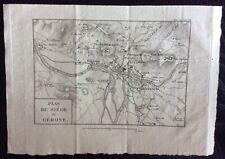 1820 PLAN SIEGE GERONE original map Gerona Girona España Spagna Peninsular War