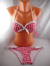 NWT Bettie Page Gingham Bikini 2pc Swimsuit Red/White Plaid pin-up sz 8