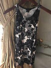 Flowers By Zoe Dress White w/Black Lace Print & Beading Girls Size Medium EUC!