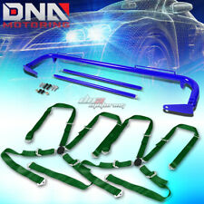 "BLUE 49""STAINLESS STEEL CHASSIS HARNESS ROD+GREEN 4-PT STRAP CAMLOCK SEAT BELT"