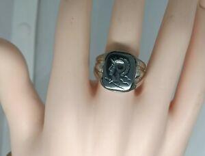 """Vtg Uncas Art Deco Sterling Silver 5/8""""H Mens Hematite Roman Soldier Ring Sz 10"""