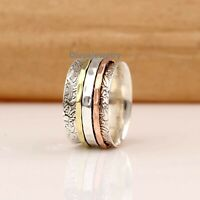 Solid 925 Sterling Silver Spinner Ring Meditation Ring Statement Ring Size RA42