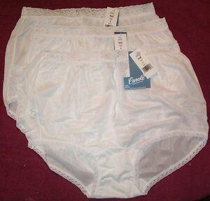 3 Pair WHITE Lace Elastic 100% Nylon Panties Size 7 Carole Panty USA Made