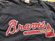 Vintage Retro Atlanta Braves Baseball Tshirt XL NBL USA Rare Navy Blue Lee Sport