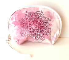 Pink Mandala Lotus Print Wrist Wallet Makeup Pouch Accessory Bag