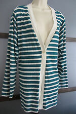Coldwater Creek Duster Cadigan Sweater Green White Striped 1X 18 Lightweight