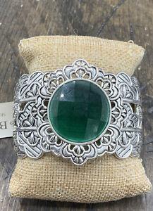 Barse Kimono Cuff Bracelet- Emerald Quartz & Silver Overlay- - New with Tags