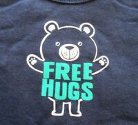 Jumping Beans Boys Size 18 24 months Navy Blue FREE HUGS Bodysuit New